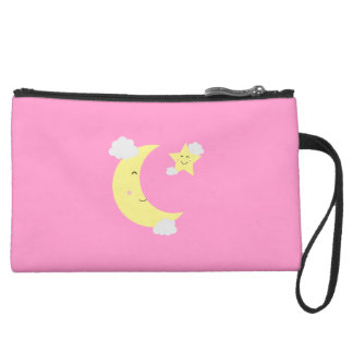Moon and Star Suede Wristlet Wallet