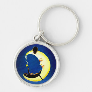 Moon and star with black cats key ring