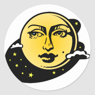Moon and Stars Astrology #002 Classic Round Sticker