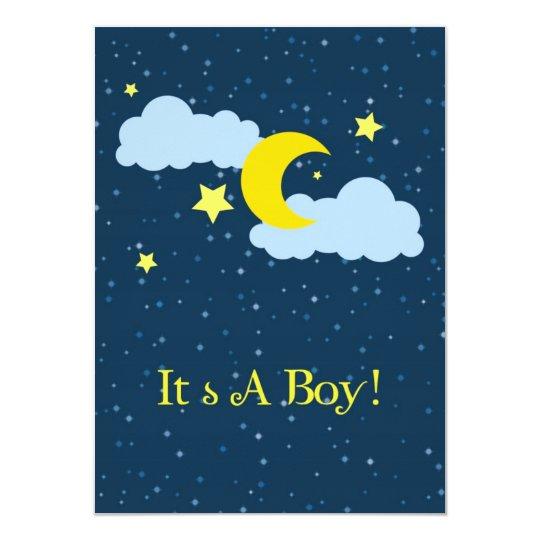 Moon and Stars Baby Boy Shower Invitation