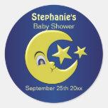 Moon And Stars Baby Shower Classic Round Sticker