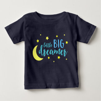 Moon and Stars Blue Little Big Dreamer Baby T-Shirt