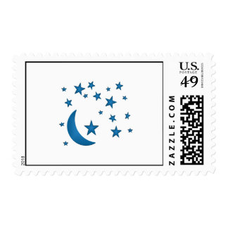 Moon and Stars Blue Postage