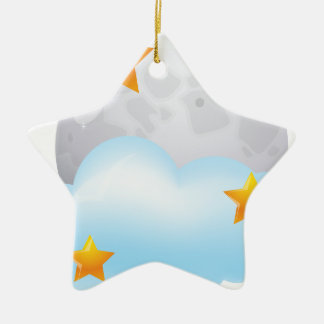 Moon and Stars Ceramic Ornament