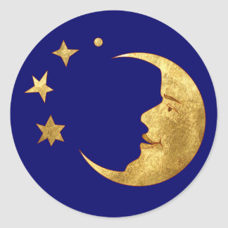 Moon and Stars Classic Round Sticker