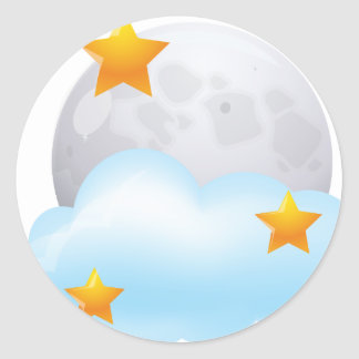 Moon and Stars Classic Round Sticker
