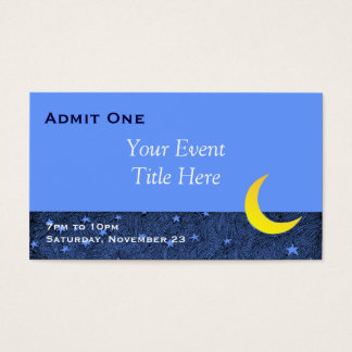 Moon and Stars Custom Event Ticket Business Card
