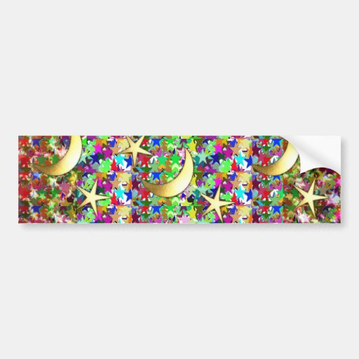 Moon and Stars : Elegant Starry night background Bumper Stickers