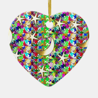 Moon and Stars : Elegant Starry night background Ceramic Ornament