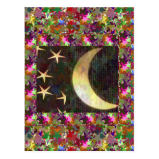 Moon and Stars Elegant Starry night background Post Cards