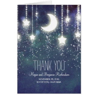 Moon and Stars Enchanted Navy Wedding Thank You