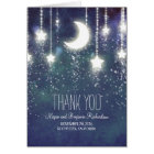 Moon and Stars Enchanted Navy Wedding Thank You Card