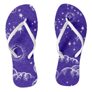 """Moon and Stars"" Flip Flop Shoes (WH/BLU/PUR) Flip Flops"
