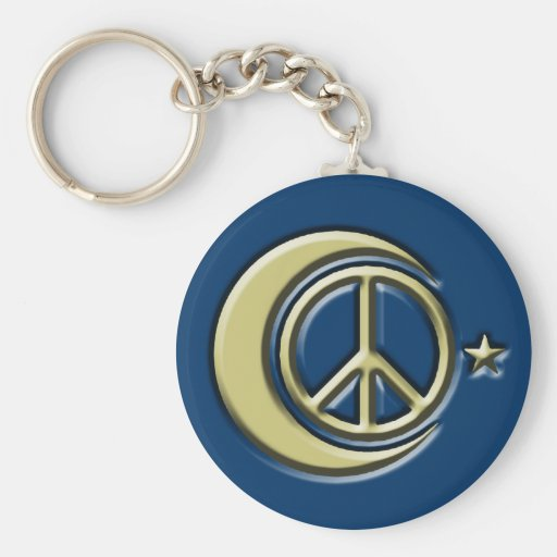 Moon and Stars for Peace Basic Round Button Keychain