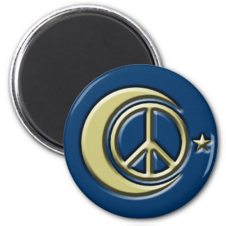 Moon and Stars for Peace 2 Inch Round Magnet