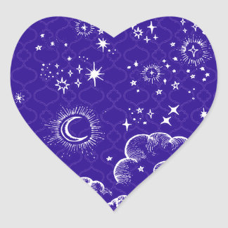 """Moon and Stars"" Heart Sticker (WH/BLU/PUR)"