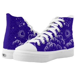 """Moon and Stars"" High Tops Shoes (WH/BLU/PUR)"