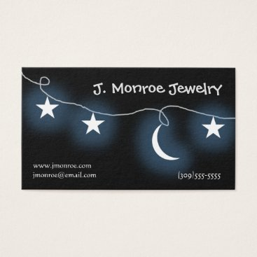 Professional Business Moon and Stars Jewelry Designer Business Card