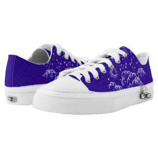 """Moon and Stars"" Low Tops Shoes (WH/BLU/PUR)"