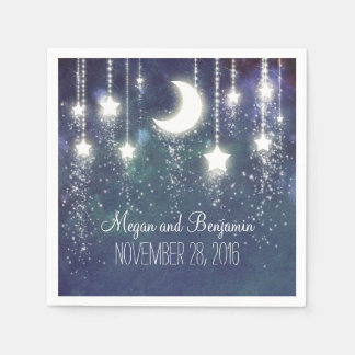 moon and stars navy enchanted romantic paper napkin