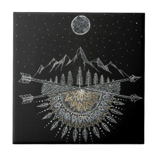Moon and Stars Night Sky Mountain Range Mandala Ceramic Tile