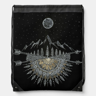 Moon and Stars Night Sky Mountain Range Mandala Drawstring Backpack