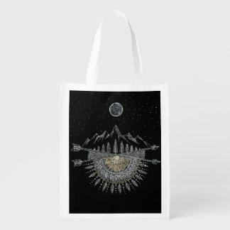 Moon and Stars Night Sky Mountain Range Mandala Grocery Bags