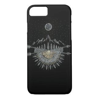 Moon and Stars Night Sky Mountain Range Mandala iPhone 7 Case