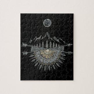 Moon and Stars Night Sky Mountain Range Mandala Jigsaw Puzzle