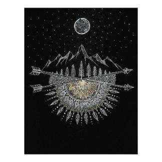 Moon and Stars Night Sky Mountain Range Mandala Letterhead