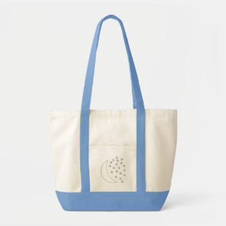 Moon and stars outline drawing, canvas bags