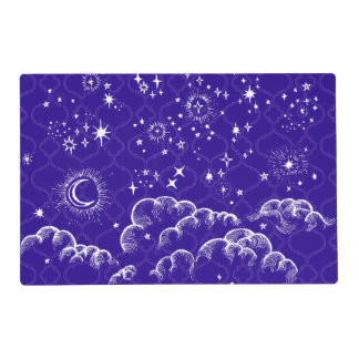 """""""Moon and Stars"""" Placemat (WH/BLU/PUR)"""