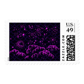 """""""Moon and Stars"""" Postage Stamps (PK/BLK/PUR)"""