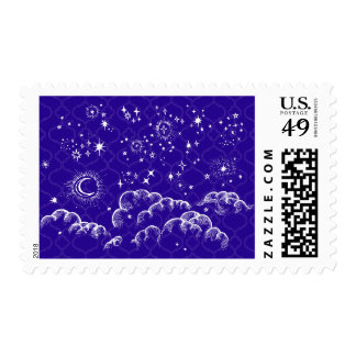 """""""Moon and Stars"""" Postage Stamps (WH/BLU/PUR)"""