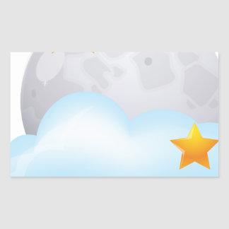 Moon and Stars Rectangular Sticker