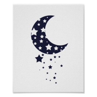 Moon and Stars silhouette in dark blue Poster