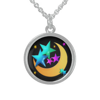 Moon and Stars Sterling Silver Necklace