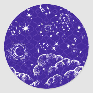"""Moon and Stars"" Sticker (WH/BLU/PUR)"