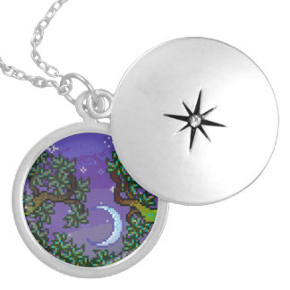 Moon And Stars Through Forest Trees Pixel Art Jewelry