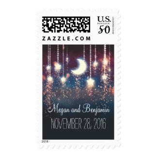 moon and stars wedding postage