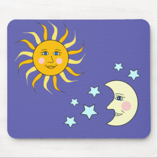 Moon and Sun Art Design Mouse Pad