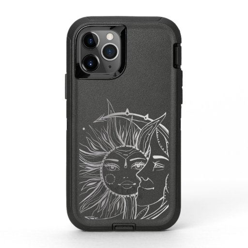 Moon and sun. Vintage style tattoo illustration OtterBox Defender iPhone 11 Pro Case