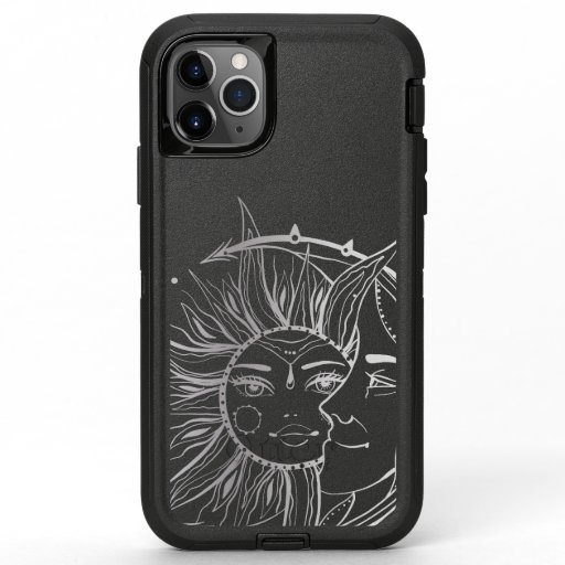 Moon and sun. Vintage style tattoo illustration OtterBox Defender iPhone 11 Pro Max Case