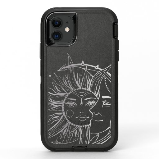 Moon and sun. Vintage style tattoo illustration OtterBox Defender iPhone 11 Case