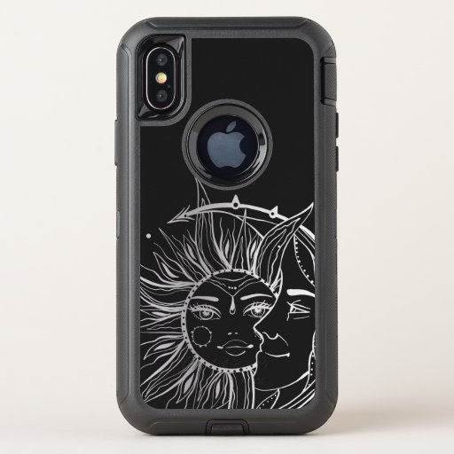 Moon and sun. Vintage style tattoo illustration OtterBox Defender iPhone XS Case