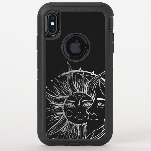 Moon and sun. Vintage style tattoo illustration OtterBox Defender iPhone XS Max Case