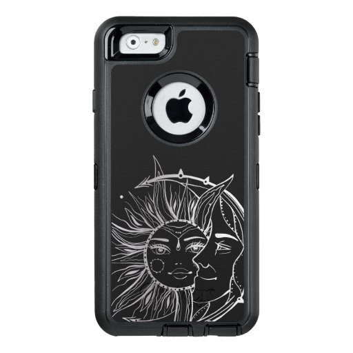 Moon and sun. Vintage style tattoo illustration OtterBox Defender iPhone Case