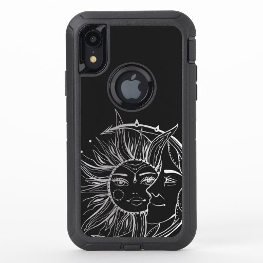 Moon and sun. Vintage style tattoo illustration OtterBox Defender iPhone XR Case