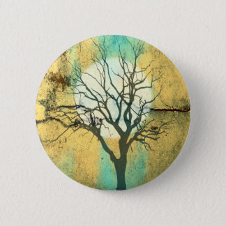 Moon and Tree Landscape in Turquoise Glow Pinback Button