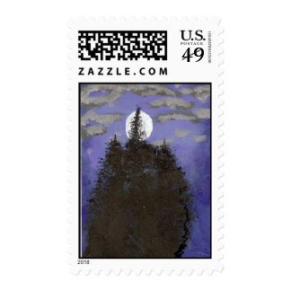 Moon And Trees Postage